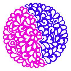 Doodle violet pink circle ornamental mandala vector