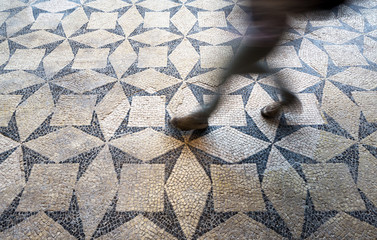 The floor mosaic in the archaeological site of Basilica of Concordia Sagittaria, Venice, Italy, Concordia Sagittaria, Italy