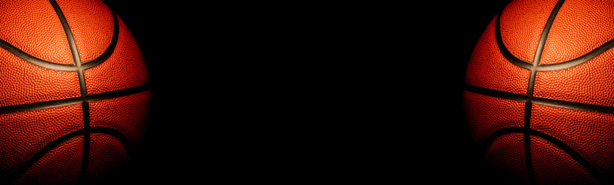 basketball on black background.