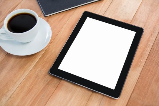 Coffee with organizer and digital tablet