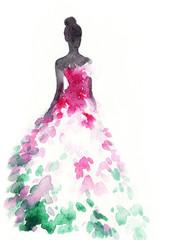 Fototapete - Woman in elegant dress. Fashion illustration. Watercolor painting