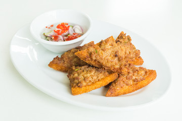 Fried bread with minced pork spread