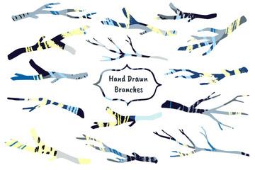 Collection of decorative branches with hand drawn textures made by ink. Vector.