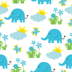 Baby shower seamless pattern with Cute elephant, butterfly, flowers, and sun suitable as wallpaper, scrap paper, and postcard