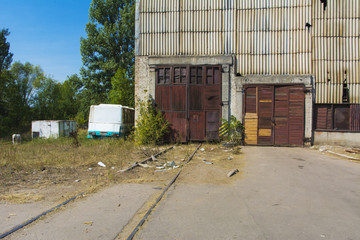 Old ruined and abandoned factory in the industrial zone