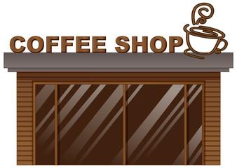 Coffee shop with glass door