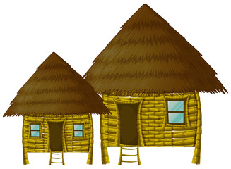 Two wooden huts on white background