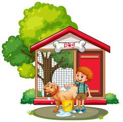 Boy washing dog with shampoo