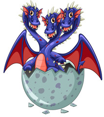 Three headed dragon in grey egg