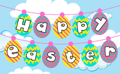 Happy Easter card template with eggs in sky