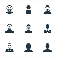 Vector Illustration Set Of Simple Member Icons. Elements Mysterious Man, Workman, Woman User And Other Synonyms User, Member And Female.