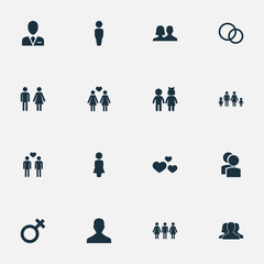 Vector Illustration Set Of Simple  Icons. Elements Alternative, Children, Woman And Other Synonyms Emotion, Rings And Beloveds.
