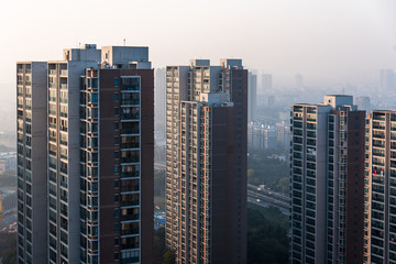view of Hong Kong apartment block in China.