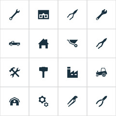 Vector Illustration Set Of Simple Repair Icons. Elements Pliers, Carpentry Equipment, Manufacture And Other Synonyms Clamping, Barn And Wrench.