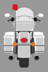 Classic police patrol heavy motorcycle with clear front windshield back view isolated on white vector illustration