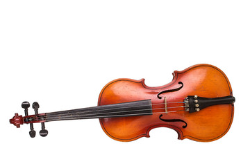 Old violin on white background