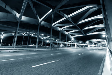 busy traffic on bridge at night