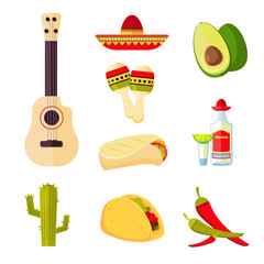 Mexican cuisine cartoon vegetables, food and drinks vector stock menu icons