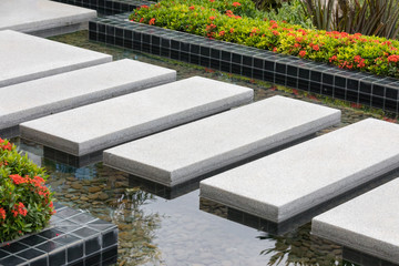 Imitation of walking on water with stone steps above the water level