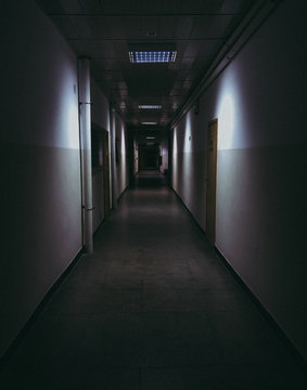 Long dark creepy hallway.