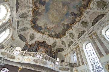 Germany - Mainz - Painting on ceiling (fresco, mural) in Augustinerkirche church cathedral