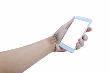 Holding mobile smart phone touch screen on white background, include clipping path