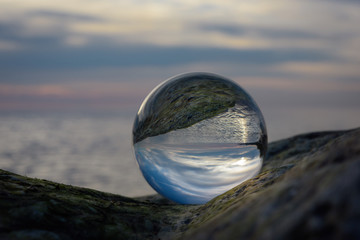 Seaside in crystal ball