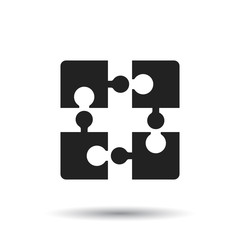 Puzzle icon flat illustration on white background.