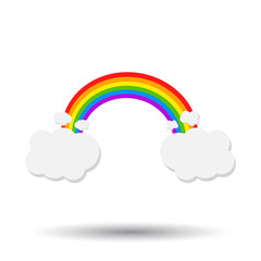 Color rainbow with clouds. Vector illustration on white background