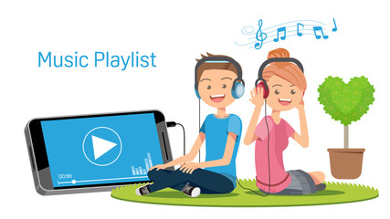 Listening to music through multimedia. Application on smart-phone. Free love playlist.
