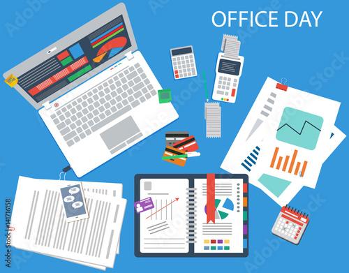 office working time concept vector illustration in flat design fichier vectoriel libre de. Black Bedroom Furniture Sets. Home Design Ideas