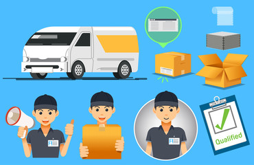 Van Carry express service. Delivery quickly everything. Small parcel. Employees modern.