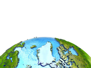 Greenland on model of Earth