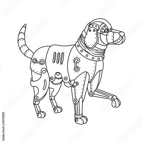 Steam punk retriever dog coloring book vector\