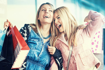 Beautiful girls in Shopping