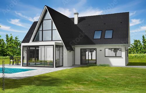 Belle maison contemporaine moderne avec veranda et for Veranda moderne piscine