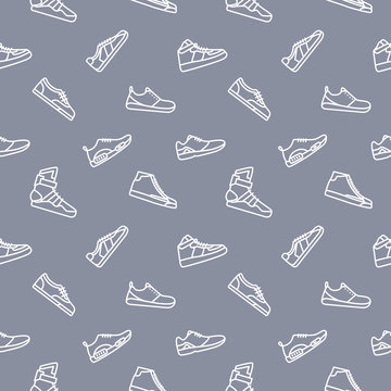 Sneakers Clothes Seamless Pattern Background