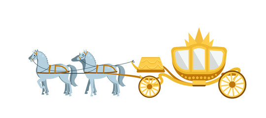 Golden Carriage drawn by four gray horses on white background.