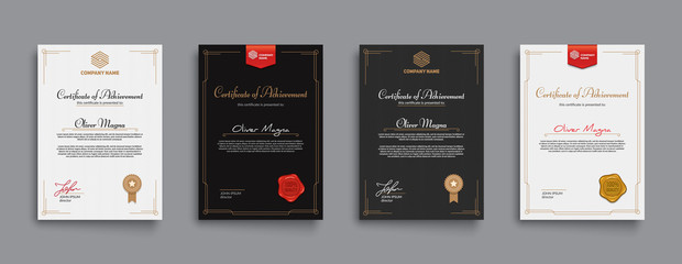 Achievement certificate design with badges and seals. Eps10 vector template.