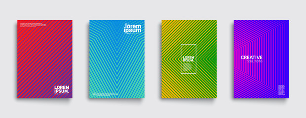 Minimal covers design. Cool modern colors. Geometric halftone gradients. Eps10 vector.