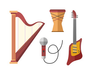 Stringed musical instruments classical harp orchestra art sound tool and acoustic symphony stringed fiddle wooden equipment vector illustration.