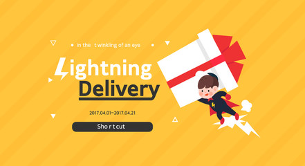 Shopping delivery pop-up illustration