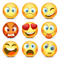Emoji and sad icon set. Vector illustration