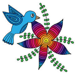 Colorful Bird and abstract flower with leaves