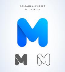 Vector origami alphabet. Letter M logo template