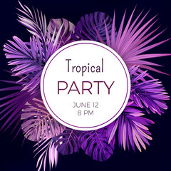 Purple neon vector floral banner template for summer beach party. Tropical flyer with exotic palm leaves and plants.