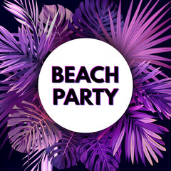 Purple neon vector floral flyer template for summer night party. Tropical background with exotic palm leaves and plants.