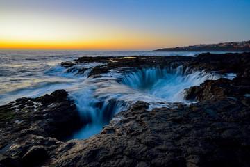 Water vortex, Bufadero de la Garita, Telde, Gran Canaria, Spain