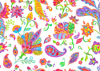 Hand drawn watercolor flower seamless pattern (tiling) with butas. Colorful seamless pattern with flowers, paisley and leaves. Isolated objects on a white background. Doodle style. Perfect for textile