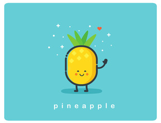 Vector con of pineapple, fruit funny cartoon character